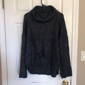 Express Black/Gray Cowl Neck Sweater